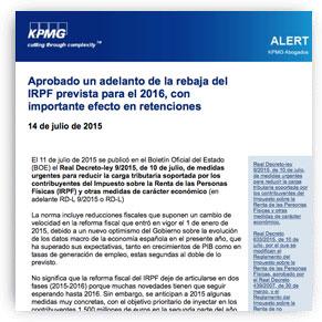CONSILIO EN KMPG Abogados - rebaja irpf 2016